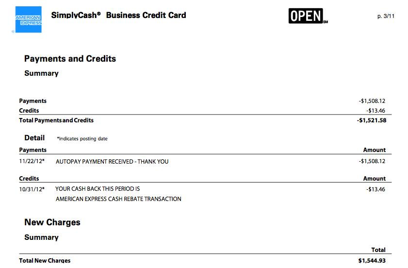 Credit card statement design –